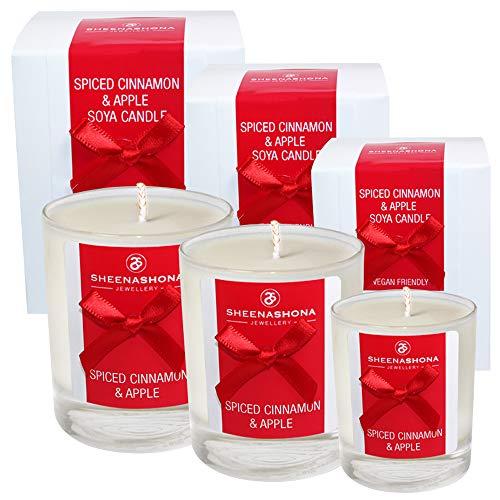 Coffret cadeau avec trois bougies parfumées Cannelle et pomme