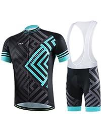 Amur Leopard Vêtements de Cyclisme Respirant Confortable Cycling Jersey Manches Courtes Cuissard Cyclisme avec Rembourré de Vélos