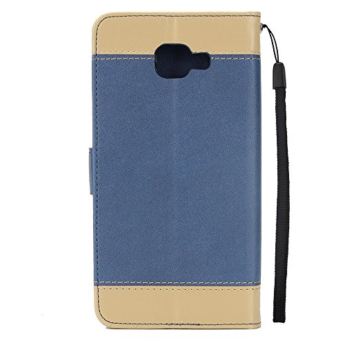 Dual Color Matching Premium PU Leder Flip Stand Case Cover mit Card Cash Slots und Lanyard für Samsung Galaxy A320 ( Color : Gold ) Blue