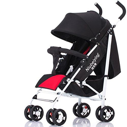 Poussette XUERUI Chariot Pliable Confortable Belle Confort Sécurité 4 Couleurs Léger (Couleur : Rouge)
