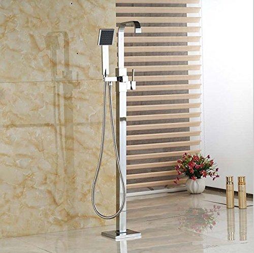 Gowe seule poignée Laiton Cascade de sol Plat Baignoire robinet Baignoire Finition chromée avec douchette en ABS