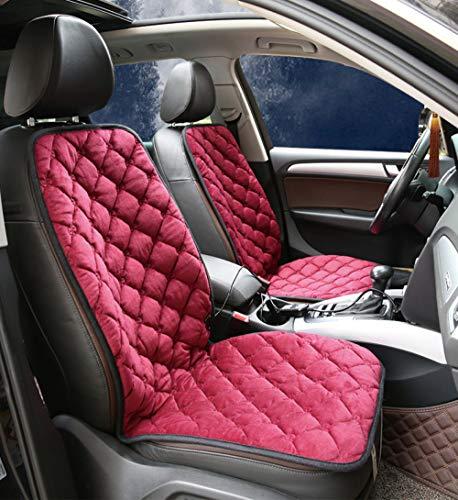 JXHD Cuscino Riscaldante per Auto -12V Riscaldamento Pezzo Singolo/Doppio Pezzo Opzionale, Lavabile E Pieghevole, 5 Colori Opzionali,Red-2