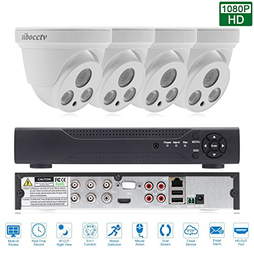 SIBO® 4CH Innenhaube Kamera 1080P AHD DVR CVI TVI HDMI VGA P2P Wolke Netzwerk Onvif Digital Video Recorder Bewegungserkennung E-Mail Alarm Remote Access PTZ CCTV Überwachungskamera Überwachungssystem H264 Dash Cam