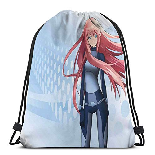 Drawstring Tote Bag Gym Bags Storage Backpack, Futuristic Manga Girl Science Fiction Doodle Effect Japanese Style Digital Art Print,Very Strong Premium Quality Gym Bag for Adults & Children