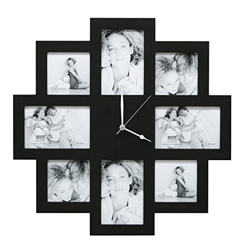 Deknudt Frames S65SM2 Fun & Deco 0x0 Bilderwandrahmen mit Uhr, Schwarz, 4x(10x10)+4x(10x15) Holz Fun...