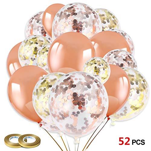 oll Rose Gold Konfetti Luftballons Gold Latex Glitter Ballons Helium Ballons für Mädchen Kinder Geburtstag Hochzeit Baby-Duschen Valentinstag Dekorationen ()
