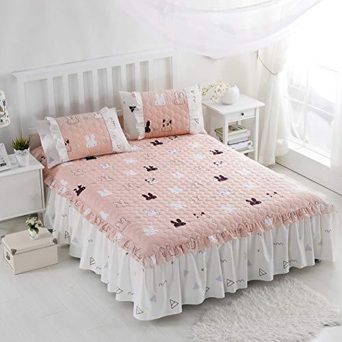 HAOLY Couvre-lit,Coton Matelasse Jupe de lit,Pièce Simple Coton Plus de Coton Couverture de lit,Couverture de lit Épaisseur Lit Drap Plat-N 120x200x45cm(47x79x18inch)