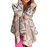 Daman Asymmetrisch Kimono Lose Gestrickt geometrischen Muster Strickjacke Cardigan Strickmantel Strick Mäntel Tunika Outwear Parka (XXL, Grün)