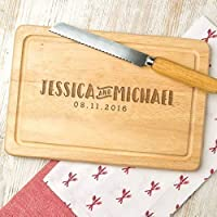 Personalised Chopping Board/Engraved Name and Date Personalised Anniversary Gifts/Personalised Engagement Gifts