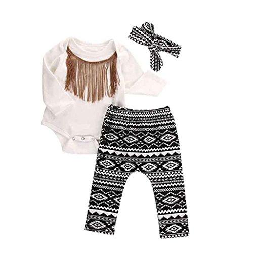 Culater® Neonato neonate nappe pagliaccetto pantaloni fascia Legging Outfits Set (90)