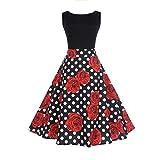 Pingtr Hepburn Vintage Dress, 20's-50's Women Retro Rose Patterm Sleeveless Dress High-Waist Pleated Dress Polka Dots Rockabilly Swing Party Dress (S)