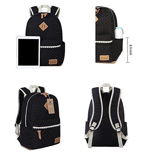 Schulrucksack Mädchen Canvas Rucksack Damen Schul Schulranzen/Schultasche 3 in 1 - 6