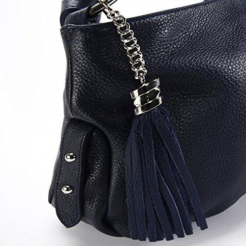 Borsa a mano in pelle donna - Modello Lobé - Borsa a tracolla - 36 x 21 x 10 cm (L x L x A) blu scuro