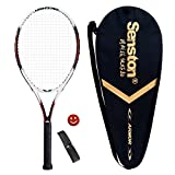 Senston Adult 27 Tennis Racket, Tennis Racquet Set Black/White/Red/Blue, Including Tennis Carry Case and 1 Overgrip + 1 Vibration Dampeners(Random Color)
