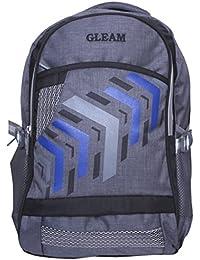 Gleam Stylish Multi-colour School Bag ( Black & Grey ) With Rain Cover