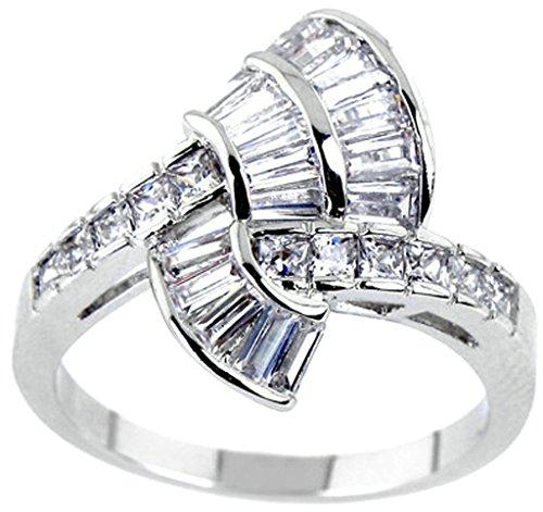 Aienid Frauen Ring Vergoldet Weißes Gold Sektor Quadrat Zirkonia Größe 60 (19.1)