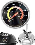 HOMETOOLS.EU® - Temperatur-Beständiges analoges BBQ Grill Koch Thermometer | zum Nachrüsten für BBQ Grill Töpfe Bräter Räucherofen | 10°C - 400 °C
