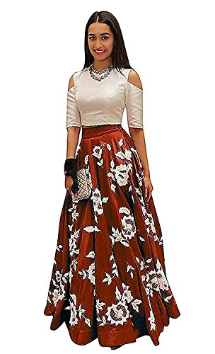 Shree Kuldevi Creation Women's Silk Semistiched Lehenga Choli (Maroon)