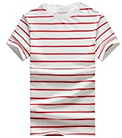 Tootlessly Men's Slim Casual Stripes Short Sleve Crew-Neck Tee Top XS 1