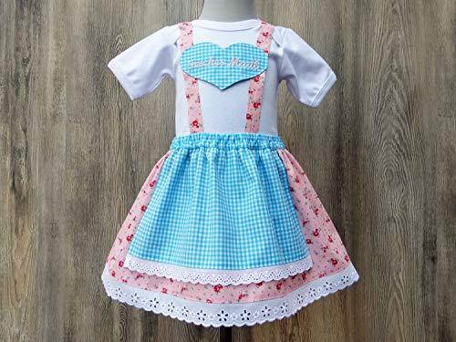 Individuell besticktes Babydirndl, Babys erstes Dirndl, grün/rosefarbiges Dirndlchen, Babybody im Trachtenstil, individuelles Kleid fürs Volksfest -
