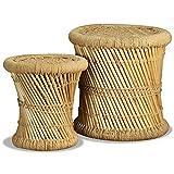 vidaXL 2X Tabourets de Salon Bambou Jute Tables d'Appoint Tables Basses