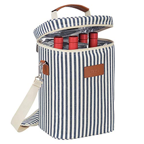 Kato Wine Cooler Bag - Padded 4 Bottle Wine Carrier Insulated with Handle and Shoulder Strap for Travel, Picnic, Great Wine Lover Gift, Stripe