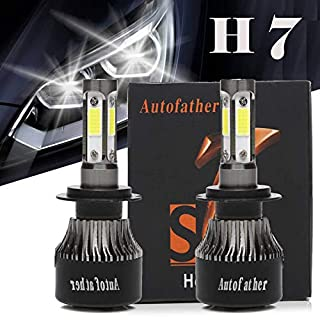 Autofather H7 LED Headlight Bulbs 4-Side Chip 16000LM Super Bright 6000K Xenon White HID Halogen Lights Replacement, 3 Year Warranty
