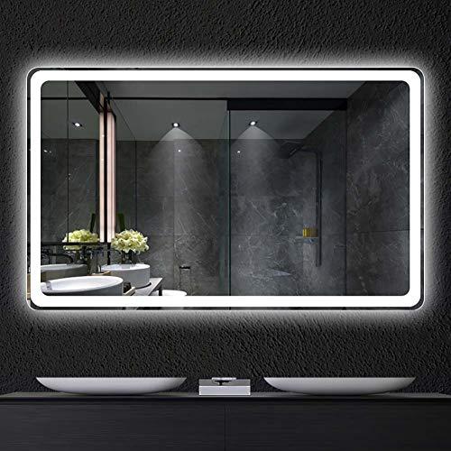Espejo inteligente pantalla táctil led baño espejo colgante de pared baño baño luz de niebla con maquillaje nueva actualización Interruptor...