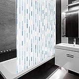 casa pura Design Duschrollo Blaues Mosaik | Viele Größen | Schnelltrocknend | Deckenbefestigung mit Halbkassette | Halbtransparent, Mosaik Blau | 160x240cm (BxL)