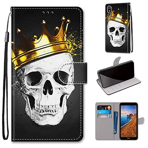 Miagon Flip PU Leder Schutzhülle für Xiaomi Redmi 7A,Bunt Muster Hülle Brieftasche Case Cover Ständer mit Kartenfächer Trageschlaufe,Schädel Krone