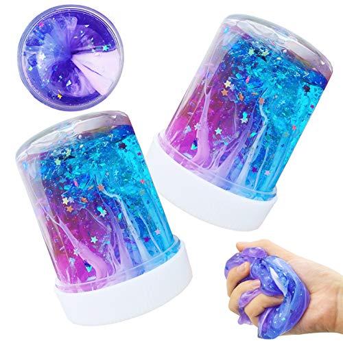 SWZY Neueste Sternenhimmel Schleim, Flauschiger Schleim Spielzeug Floam Mischen Wolke Schleim Kitt Duftenden Stressabbau Ton für Kinder und Erwachsene, 2 Pack