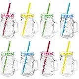 Trinkgläser mit Deckel und Trinkhalm - 500 ml - 7,5 x 10,5 x 13 (LxBxH), Mengen wählbar - rot, grün, gelb und blau, Stückzahl:8 Stück, Farbe:Gemischt