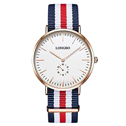 LONGBO Classic Men's Nylon Strap Watch Analog Quartz Ultra Thin Rose Gold Case Multi-Color Band Business Watches Big Face Dress Wrist Watch with Blue White Red White Blue Striped Canvas
