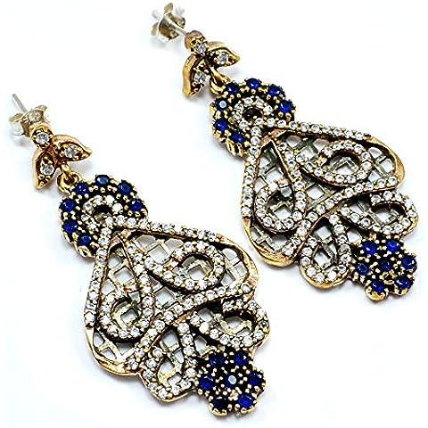 Silvesto India con topazio blu, argento sterling 925, con zaffiro (Lab) & Bronze turco Orecchini pendenti a