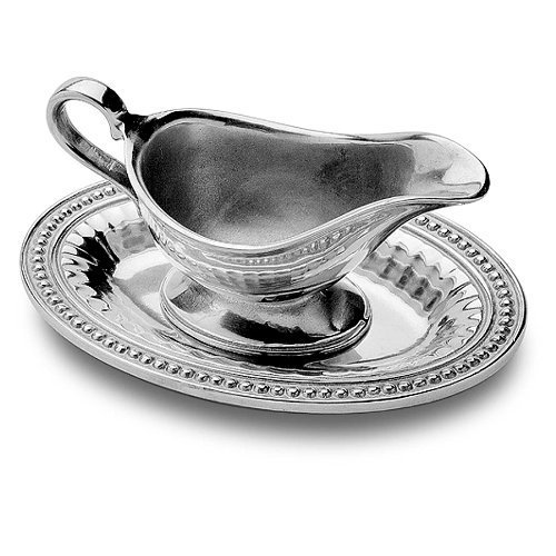 Wilton Armetale Flutes and Pearls Gravy Boat with Tray, Oval, 6-1/4- Inch by 9-1/4-Inch by Wilton Armetale Pearl Gravy Boat