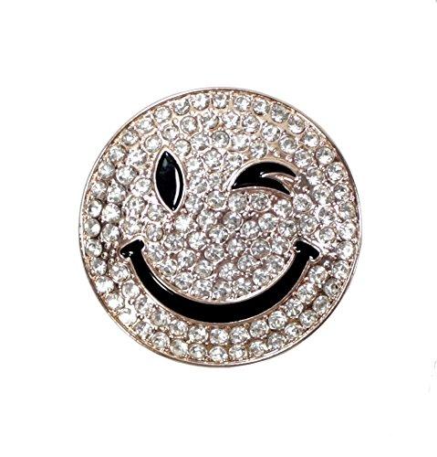 Smiley Magnet Brosche mit Strass Rund Schalhalter Wink Jeans Tasche Farbe Rosé Gold (Strass-brosche Runde)