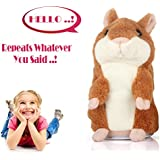 SUNETLINK Talking Hamster Plush Toy, Repeat What You Say Funny Kids Stuffed Toys, Talking Record Plush Interactive Toys For Valentine's Day, Birthday Gift Kids Early Learning (Khaki)