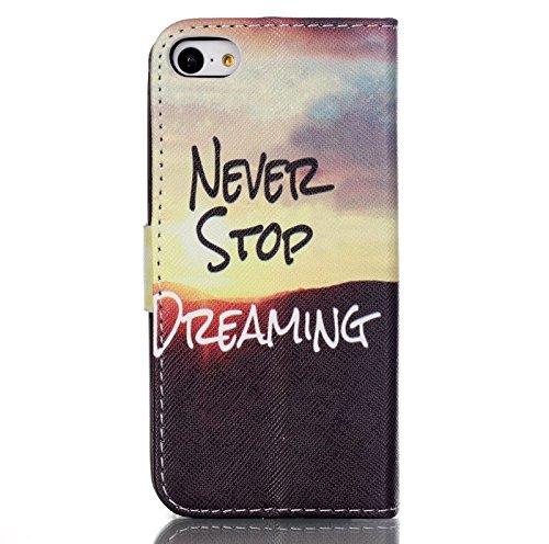 iKASUS - Custodia a portafoglio in pelle sintetica, con supporto a leggio e tasca per carte di credito, per Apple iPhone SE 2016& iPhone 5S 5 Never Stop Dreaming