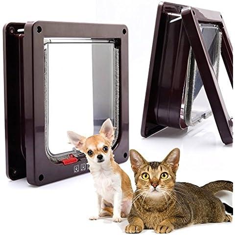 3 Dimensioni A 4 Vie Gattaiola Porta Basculante per Gatti e Cani, Entrata e Uscita Controllabile, Materiale ABS (L, Marrone) - Cat Flap Per Porte