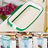 #10: Mosquick Plastic Garbage Bag Holder ,Dustbin With Side Clips For Better Grip, For Kitchen ,Office ,Clincs ,Schools-Green