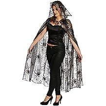 Halloween Kostüm transparenter Spinnen Umhang Cape Spinnennetz Fasching Karneval