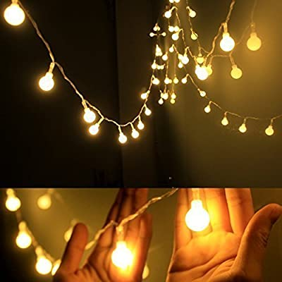 Dailyart 13feet/4m Long Globe String Light Starry Light for Gardens, Homes, Wedding, Christmas Party, Battery-powered (Beige)