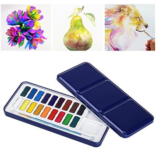 ULTNICE Aquarell Set Aquarellfarben Set Wasserfarbe Palette zinn metall Box mit Pinsel (18 Farben)