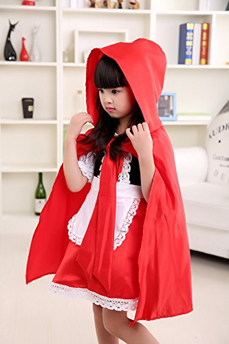 Imagen de disfraz de caperucita roja para halloween, para niñas, con capucha y capa
