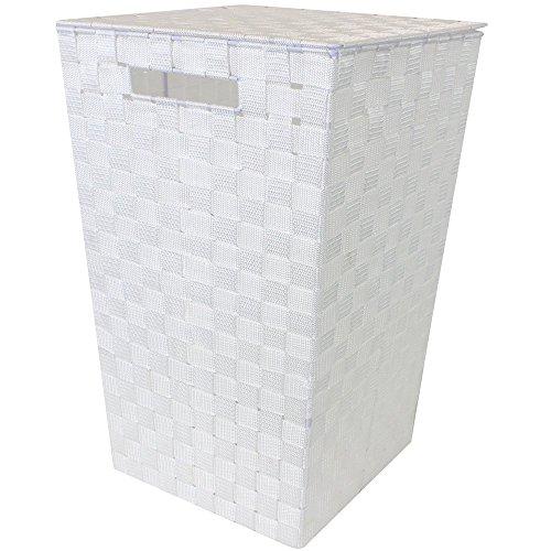 Jvl - cesta per la biancheria a forma conica con maniglie, colore: bianco
