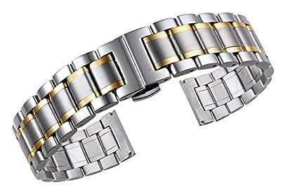Correas de reloj de metal de lujo de dos tonos sólidos de plata y oro de acero inoxidable con extremos curvos y rectos