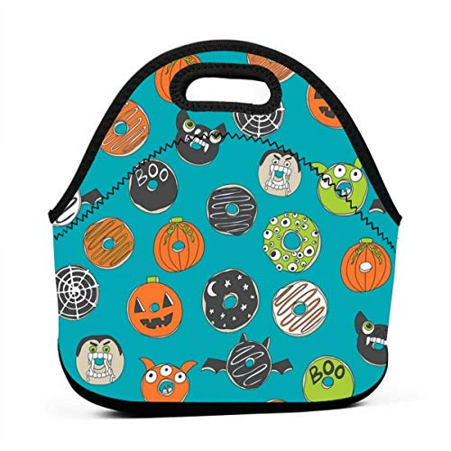 Clothes socks Portable Bento Lunch Bag,Halloween Donuts Fall Autumn Food Cute Spooky Scary Halloween Design by Andrea Lauren - Turquoise for Kids Adult Thermal Insulated Tote Bags (Kid Halloween Für Snacks Fun)