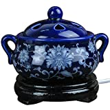 Ceramic Incense Burner Electric,Aromatherapy Essential Oil Burner Timing,Porcelain for Home,Balcony,Patio,Porch and Garden
