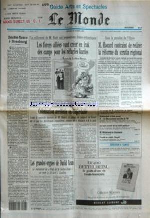 MONDE (LE) [No 14378] du 18/04/1991 - LES FORCES ALLIEES VONT CREER EN IRAK DES CAMPS POUR LES REFUGIES KURDES - M. ROCARD CONTRAINT DE RETIRER LA REFORME DU SCRUTIN REGIONAL PAR PATRICK JARREAU - DOUBLE FIASCO A STRASBOURG - COLONISATION ACCELEREE EN CISJORDANIE PAR ALAIN FRACHON - LES GRANDES ORGUES DE DAVID LEAN PAR JEAN-MICHEL FRODON - LE VOYAGE DE M. GORBATCHEV AU JAPON - URBATECHNIC A LIVRE OUVERT - LE FINANCEMENT OCCULTE DU PS - UN HAUT COMITE DE LA SANTE PUBLIQUE - M. MITTERRAND EN RO