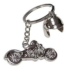 Idea Regalo - Portachiavi con moto e casco in acciaio color argento cromato, per biker, da motociclista